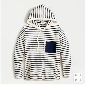 Patch pocket hoodie in striped Mariner cloth